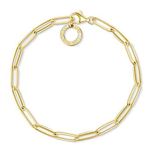 Thomas Sabo Damen-Armband Charm Club 925 Sterling Silber gelbgold vergoldet Länge 15.5 cm X0253-413-39-L15,5