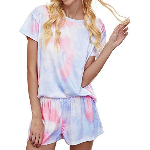 KunmniZ Damen Schlafanzug mit Sternen, Batikmuster, kurzärmelig, Pullover Gr....