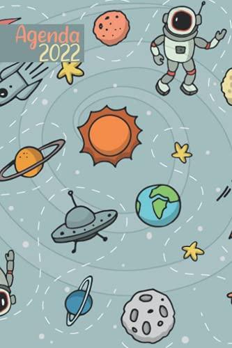 Agenda 2022: Agenda Espacio 2022 . Grande Planificador Anual 2022 12 Meses . Día por página 2022 . planificador 2022 .Calendario Educacion , Diario Regalos Escolares ...
