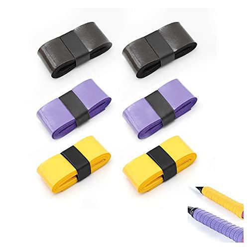 KINHARD 6 Piezas de Grip Tape de Raqueta Tenis, 3 Colores Cinta Agarre de Raqueta de Bádminton, Fuerte Absorción del Sudor y Raqueta Antideslizante Cinta de Grips