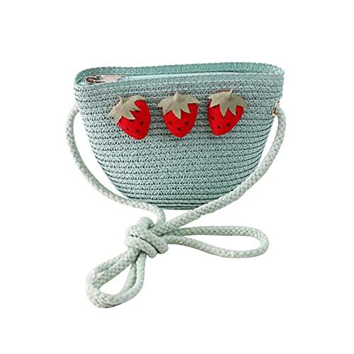 Stroh Kleine Tasche Nette Umhängetasche Mode Geldbörse Tasche Für Kinder Erdbeere Mode Mädchen Handgewebte Umhängetasche Sommer Neue Nette Dekoration Webart Handtasche Einfachheit (Hellblau)
