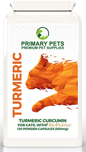 Primary Pets Turmeric for Cats (120 x 500mg Caps) Joint Supplement for Cats with Bioperine for 10000mg eq Absorbsion