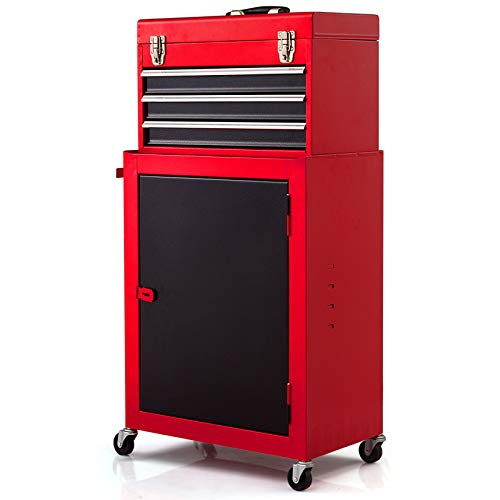 Goplus Compact Tool Chest, 2PC Rolling Storage Tool Boxes w/ Wheels and Sliding Drawers, Metal Tools Organize Cabinet, Red