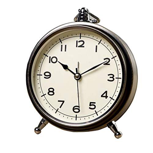 Reloj de mesa Retro Creativo Silencioso Reloj de Alarma Números de Caracteres Romanos Dormitorio Mesita de noche Reloj de Escritorio for Niños Sencillo Reloj Pequeño Reloj de decoración de interiors
