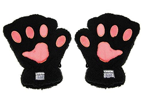 Damen Mädchen Handschuhe Winterhandschuhe Niedlichen Cartoon Tier Plüsch Fäustlinge warmen Winter halbe Fingerhandschuhe, Schwarz,