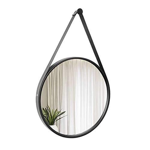 Espelho Decorativo Adnet Preto Alça Corino Preta 50 Cm De Redondo