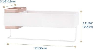 Lunmore Bathroom Organizers Adhesive Bathroom Shelf Storage with Towel Bar Pink