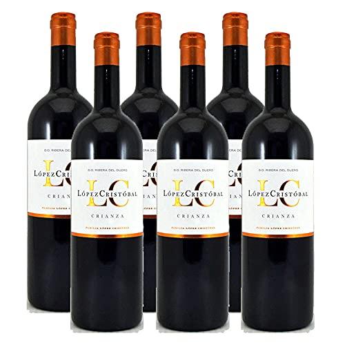 Vino Tinto Lopez Cristobal Crianza de 75 cl - D.O. Ribera del Duero - Bodegas Lopez Cristobal (Pack de 6 botellas)