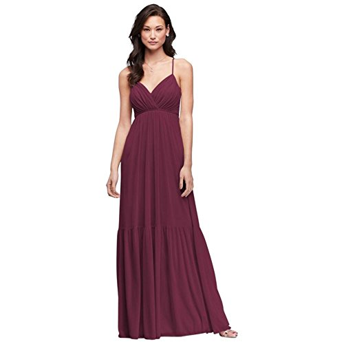 David's Bridal Surplice Mesh Bridesmaid Dress with Peasant Skirt Style F19771, Wine, 2