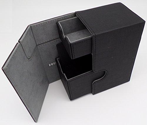 docsmagic.de Premium Magnetic Tray Box (100) Black + Deck Divider - MTG - PKM - YGO - Caja Negra