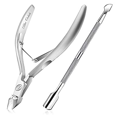Cuticle Trimmer with Cuticle Pusher - Cuticle Remover Cuticle Nipper Professional Stainless Steel Cuticle Cutter Clipper Durable Pedicure Manicure Tools for Fingernails and Toenails