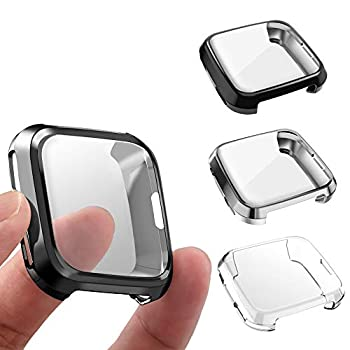 3 Packs Screen Protector Compatible Fitbit Versa GHIJKL Ultra Slim Soft Full Cover Case for Fitbit Versa