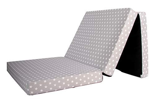 Babyblume Gästematratze, Klappmatratze, 189x79x10 cm, Verschiedene Designs zur Auswahl (grau weiß Stern)