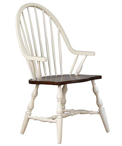 Sunset Trading Andrews Windsor Dining Chair with Arms   Antique White and Chestnut Brown