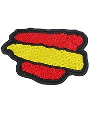 IGUANA CUSTOM CLOTHES Parche Motero Bordado Bandera de España de 8cm Ancho x 5.5cm Alto con Termo Adhesivo para Poner en Chalecos y en Chaquetas Biker