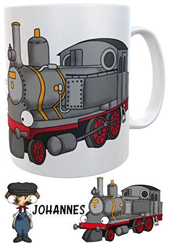 Kindertasse Eisenbahn Dampflok mit Wunschname - personalisierte Henkeltasse Lok Lokführer Becher Tasse Henkeltasse (Keramik)