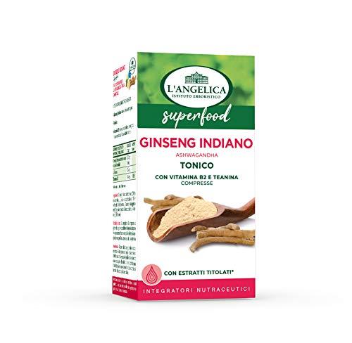 L'Angelica, Integratore Ginseng Indiano Ashwagandha, Tonico Energizzante, Senza Lattosio, Senza Glutine, Vegan, Formato: 60 Compresse