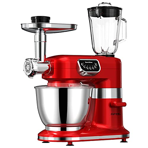 AIFEEL 8 in 1 Stand Mixer 800W, 8.5QT Bowl, Multifunctional Kitchen Mixer with Dough Hook, Whisk, Beater, Meat Grinder, Blender etc,5-Speed with LED Key(Retro Red)