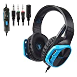 SADES Gaming Headset for PS4 Controller,Xbox One,PC,Laptop,Mac,Tablet,Smartphone,Over Ear Noise-canceling Gaming Headphones with Mic for Nintendo Switch Games(Black&Blue)