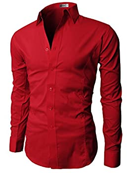 H2H Mens Casual Business Slim Fit Button-Down Dress Long Sleeve Sleeves Solid Colors RED US M/Asia L  JASK14