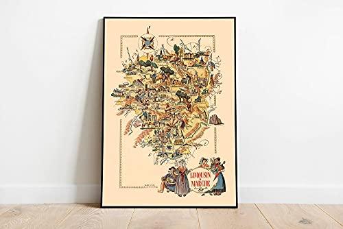 MG global Mapa de la región de limusina y marcha, Francia, arte de la pared de Francia, impresión de mapa vintage de Francia, impresión estirada, póster de decoración de pared sin marco
