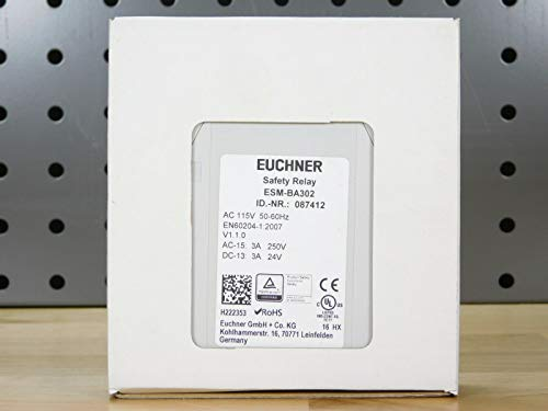 EUCHNER ESM-BA302 1 Auxiliary Contact, 115VAC, 3NO/1NC, 3 Safety Contacts, Safety Relay