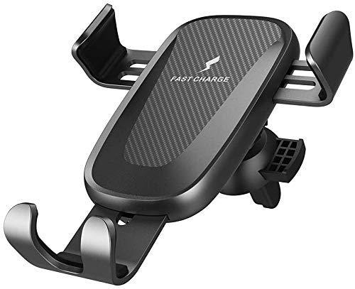 MRTYU-UY Cargador de coche inalámbrico 10 W carga rápida coche abrazadera ventilación teléfono titular para iPhone XS Max XR 8 Samsung S9 S8 Nota 9