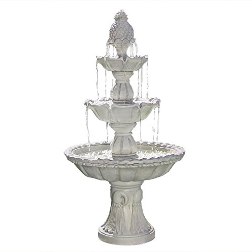 Sunnydaze Welcome Outdoor Water Fountain - 3-Tier Waterfall Fountain & Backyard Water Feature for Patio, Yard, & Garden - 59 Inch Tall