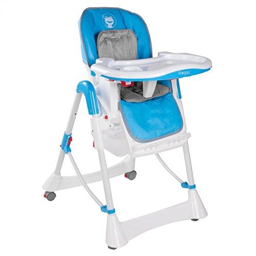 Froggy Kinderhochstuhl Babyhochstuhl mit Sicherheitsgurt Großem Esstisch Höhenverstellbar Zusammenklappbar Kinderstuhl Babystuhl Hochstuhl Stuhl Blau