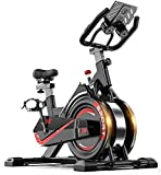 CDPC Bicicleta estática con transmisión por Correa, Volante y Sensor de Bicicleta de Interior, Monitor LCD, para Bicicleta de Ejercicio con Montaje en iPad con Manillar Ajustable para entrenamien