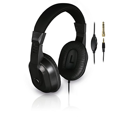 Thomson TV-Kopfhörer mit langem Kabel (Over-Ear, 8m Kabellänge, zum Fernsehen und Musik hören, mit Lautstärkeregler, 3,5mm Klinkenstecker inkl. 6,35mm Adapter, Stereo-Fernsehkopfhörer) schwarz