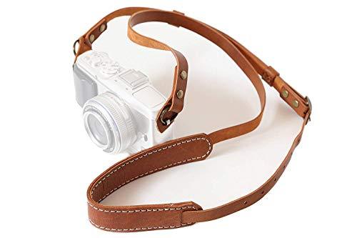 ANSハンドメイド本革レトロヴィンテージカメラストラップ(ライトブラウン)