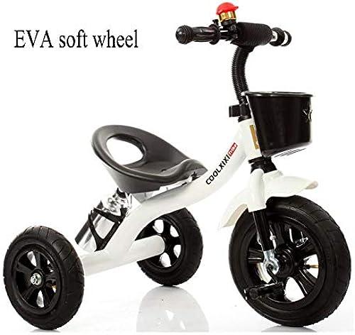 GIFT Dreirad Für Kinder Trike Erstes Fahrrad, Kohlenstoffhaltiger Stahl , Weißes Eva-Rad, Jahres 2-6years,Weiß