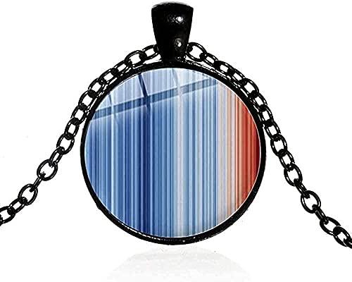 BEISUOSIBYW Co.,Ltd Collar Diseño de Arte Minimalista Collar de Rayas climáticas Temperamento Azul Collar de Cadena Impresa con cabujón de Cristal 3D