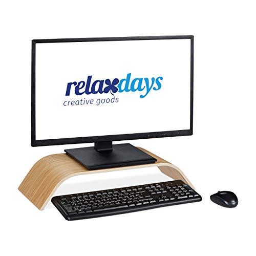 Relaxdays Monitorständer aus Bambus, gebogene Bildschirmerhöhung für Schreibtisch, ergonomisch, HBT 10x52,5x24 cm, natur