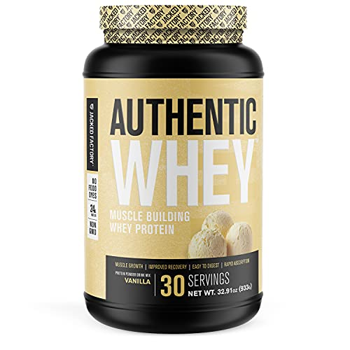 Authentic Whey Muscle Building Whey Protein Powder - Low Carb, Non-GMO, No Fillers, Mixes Perfectly - Vanilla Flavor