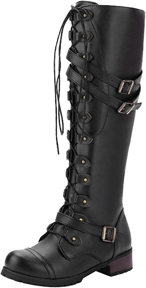 Zieglen Ankle Boots for Women, Lace Up Knee High Boots Retro Low Heel Military Boots Hiking Boots Womens Cowboy Boots Shoes