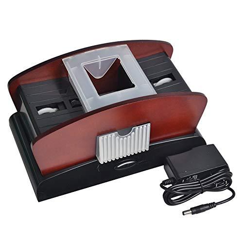 EWUEJNK schwarz-braun Kartenmischer Elektrisch, 4 Decks,Holz,Kartenmischmaschine zum Mischen von Karten, Standard
