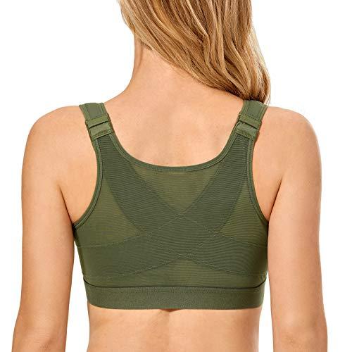 DELIMIRA Women's Full Coverage Front Closure Wire Free Back Support Posture Bra Chive 38F