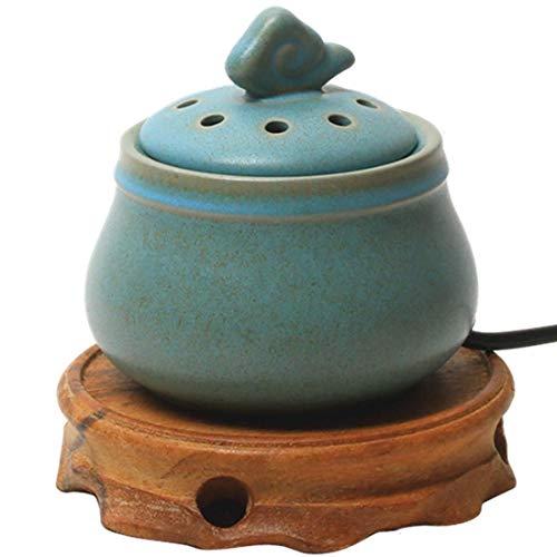 Yxxc Quemador de Incienso eléctrico de cerámica Quemador de Incienso Termostato Enchufe Aceite Esencial Ardiente eléctrico Polvo de sándalo Bloque de aserrín Aire de purificac