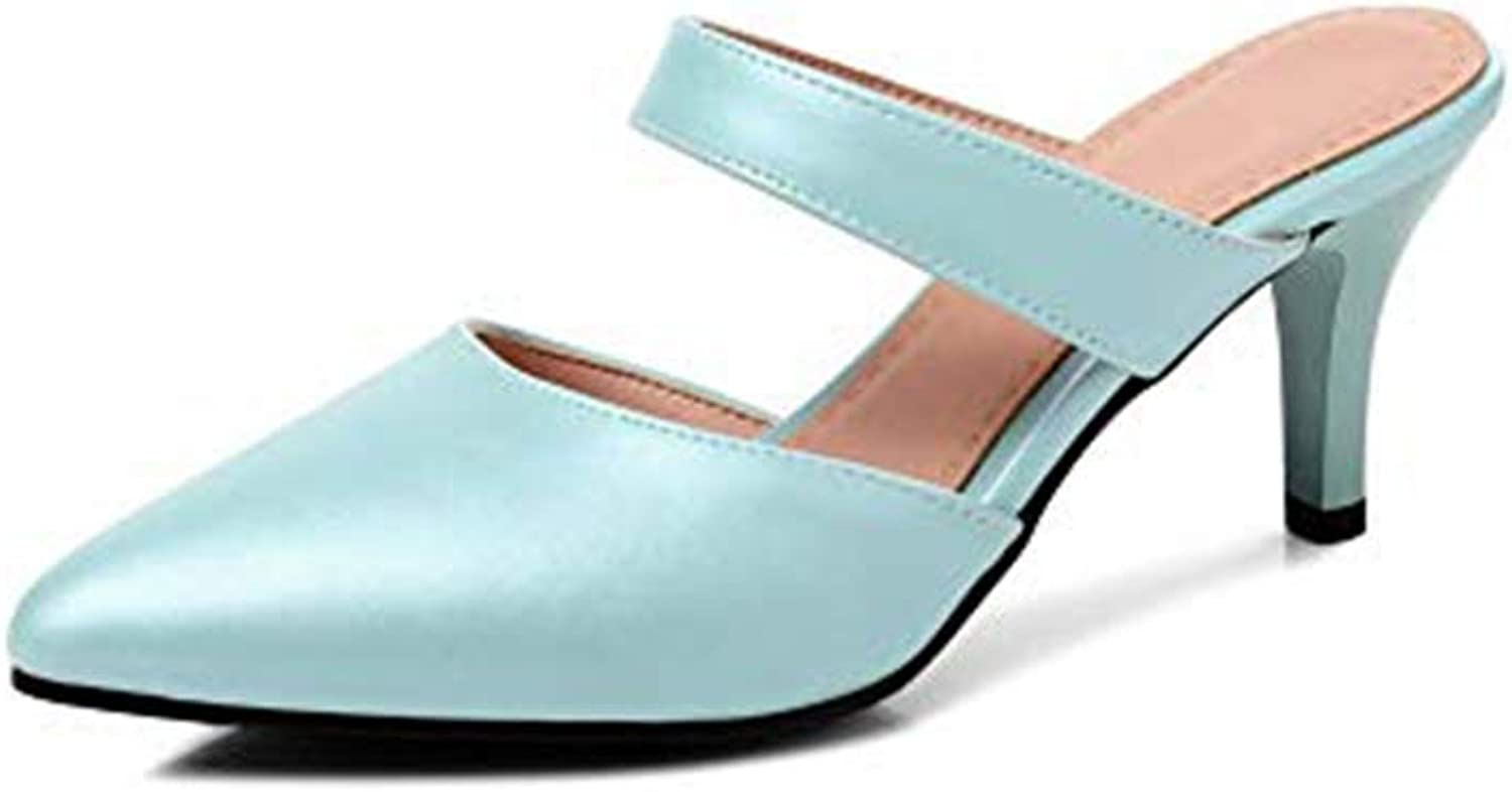 T-JULY Women's Fashion Heeled Slides Sandals Sexy Pointy Toe Stilettos Mules Clogs Slip on Dress Pumps shoes