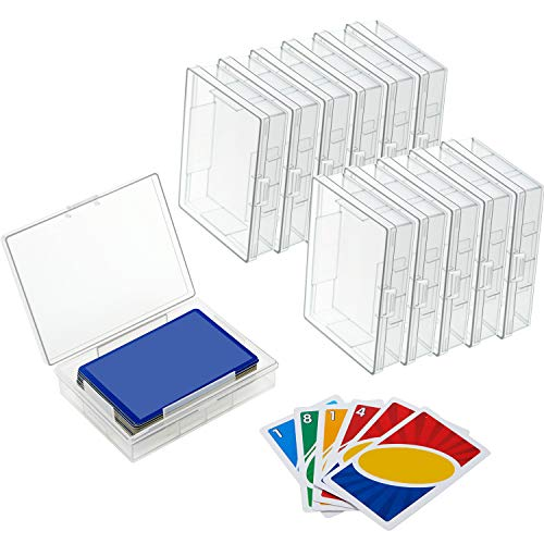 12 Pieces Playing Card Deck Boxes Empty Plastic Storage Box Card Holder Organizer Clear Card Case, Snaps Closed
