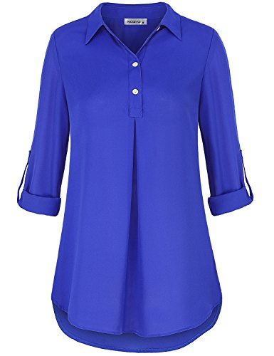 MOQIVGI Chiffon Long Sleeve Shirt, Lady Collared Relaxed Fit Shirttail Hem Blouse Sheer Lightweight A line Draped Tops for Office Blue X-Large