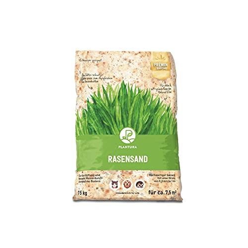 Plantura Premium Rasensand, 15 kg für 7,5 m², Reiner Quarzsand, feine Körnung von 0,3-1 mm