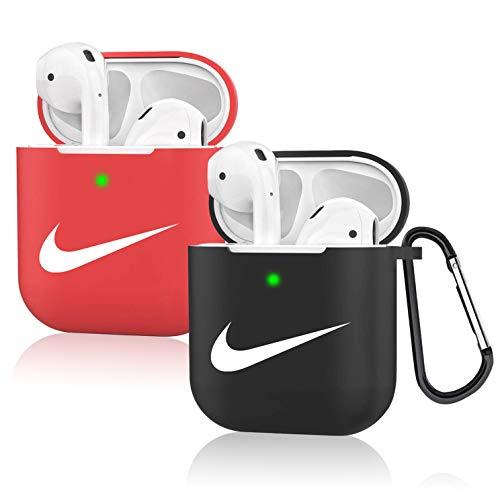 Leosimp für AirPods 1&2 hülle Case, Cute Niedliche Weichem Silikon Schützende Air pods Haut, Ultraleicht Stoßfeste Kopfhörer hülle, Mode Schlüsselanhänger für Airpod (2er Pack)(Black+Red Right)