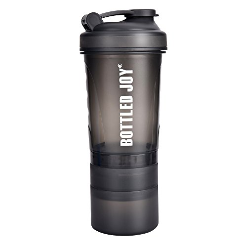 BOTTLED JOY Protein Shaker Bottle with 3-Layer Twist and Lock Storage, 100% BPA-Free Leak Proof SportMixer Fitness Sports Nutrition Supplements Non-slip Mix Shake Bottle 20oz 600ml (Grey)
