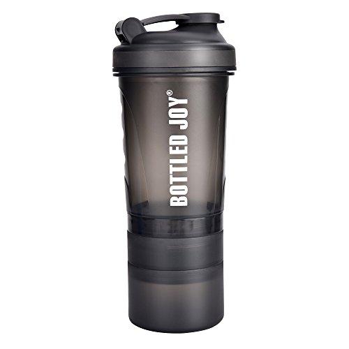 BOTTLED JOY Protein Shaker Bottle with 3-Layer Twist and Lock Storage, 100% BPA-Free Leak Proof SportMixer Fitness Sports Nutrition Supplements Non-slip Mix Shake Bottle 20oz 600ml (Grey)