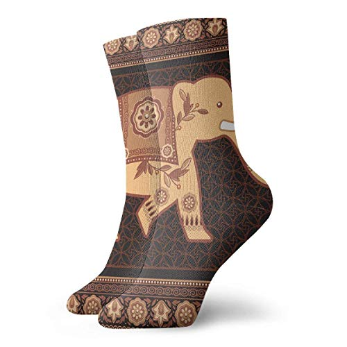 Drempad Luxury Calcetines de Deporte Elephant Flower Pattern Adult Short Socks Cotton Sports Socks for Mens Womens Yoga Hiking Cycling Running Soccer Sports