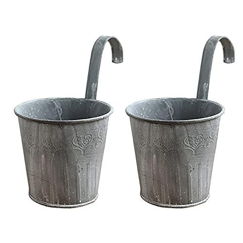 RIABXZ Macetas colgantes de hierro de metal con gancho, de hierro forjado para colgar en la pared, para balcón, jardín, decoración del hogar