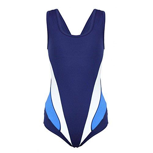 Aquarti Mädchen Schwimmanzug Sportlich mit Y-Träger, Farbe: Dunkelblau/Blau, Größe: 128